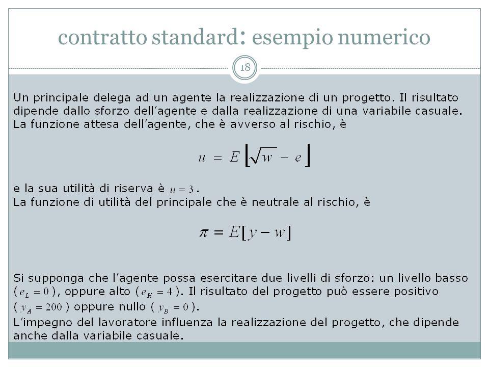 contratto standard : esempio numerico 18