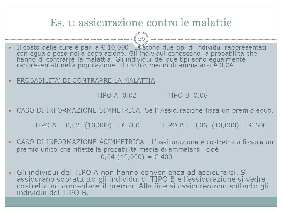 Es. 1: assicurazione contro le malattie Il costo delle cure è pari a 10,000. Esistono due tipi di individui rappresentati con eguale peso nella popola