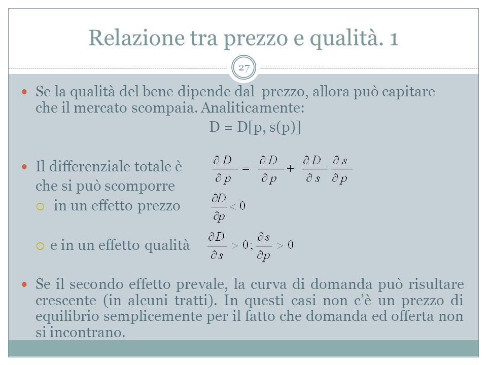 Relazione tra prezzo e qualità. 1 Se la qualità del bene dipende dal prezzo, allora può capitare che il mercato scompaia. Analiticamente: D = D[p, s(p