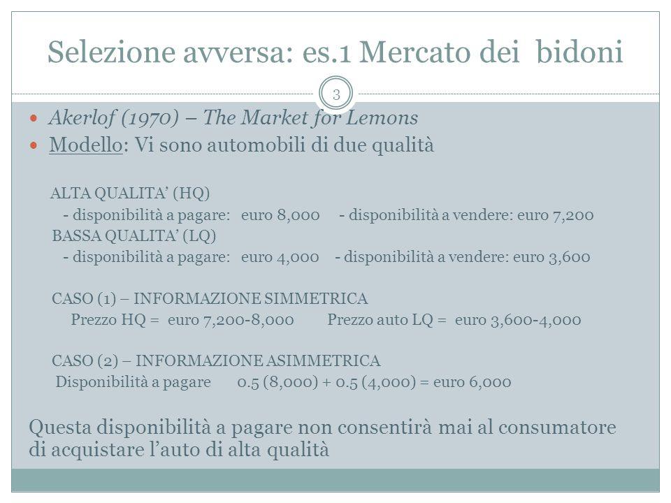 Selezione avversa: es.1 Mercato dei bidoni Akerlof (1970) – The Market for Lemons Modello: Vi sono automobili di due qualità ALTA QUALITA (HQ) - dispo