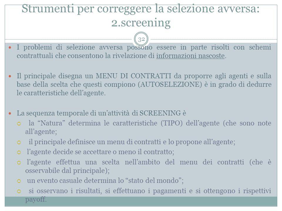 Strumenti per correggere la selezione avversa: 2.screening I problemi di selezione avversa possono essere in parte risolti con schemi contrattuali che