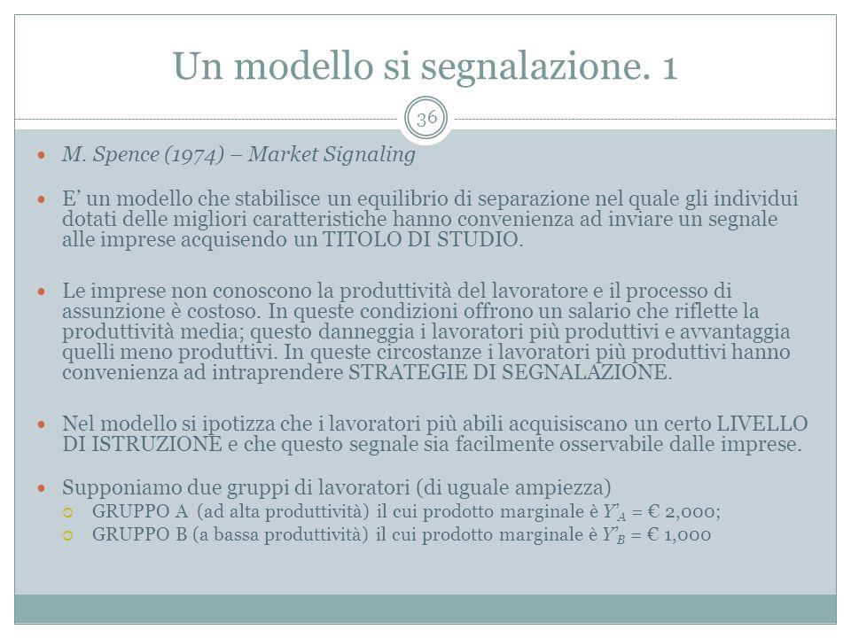 Un modello si segnalazione. 1 M. Spence (1974) – Market Signaling E un modello che stabilisce un equilibrio di separazione nel quale gli individui dot