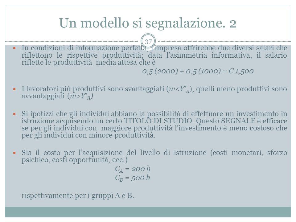 Un modello si segnalazione. 2 In condizioni di informazione perfetta, limpresa offrirebbe due diversi salari che riflettono le rispettive produttività