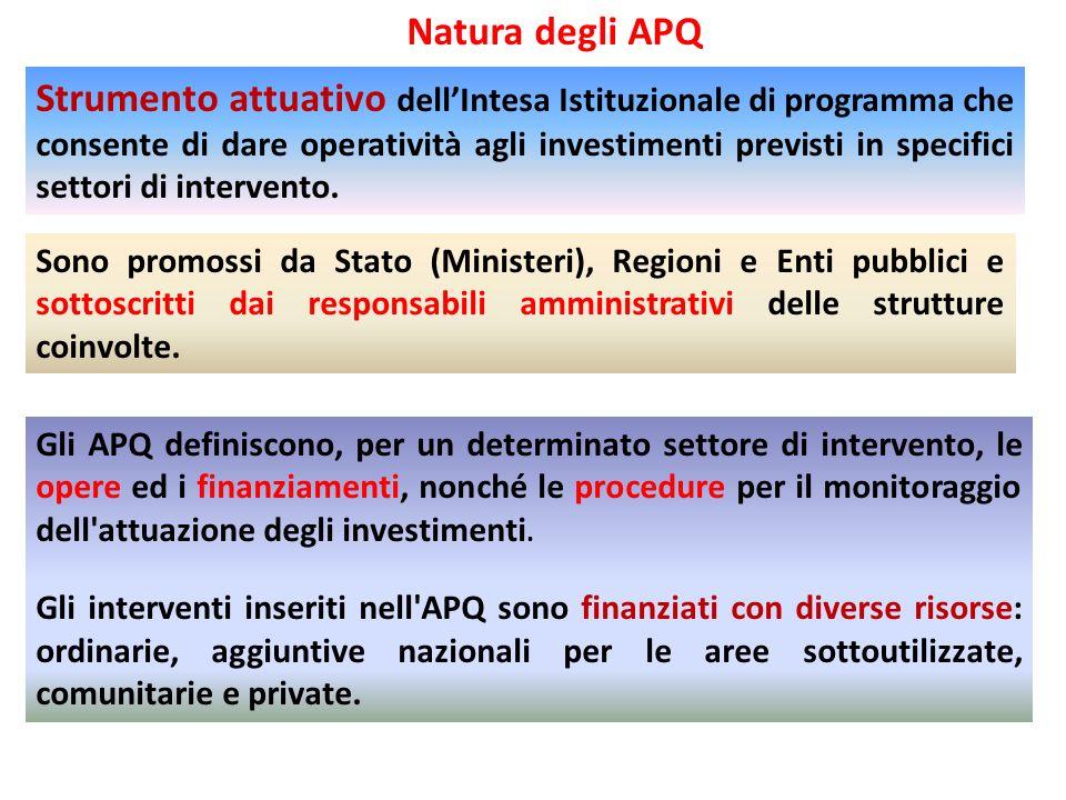 Gli APQ definiscono, per un determinato settore di intervento, le opere ed i finanziamenti, nonché le procedure per il monitoraggio dell'attuazione de
