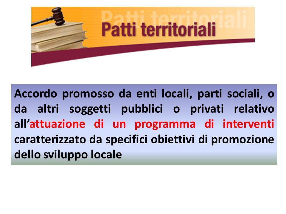 Accordo promosso da enti locali, parti sociali, o da altri soggetti pubblici o privati relativo allattuazione di un programma di interventi caratteriz