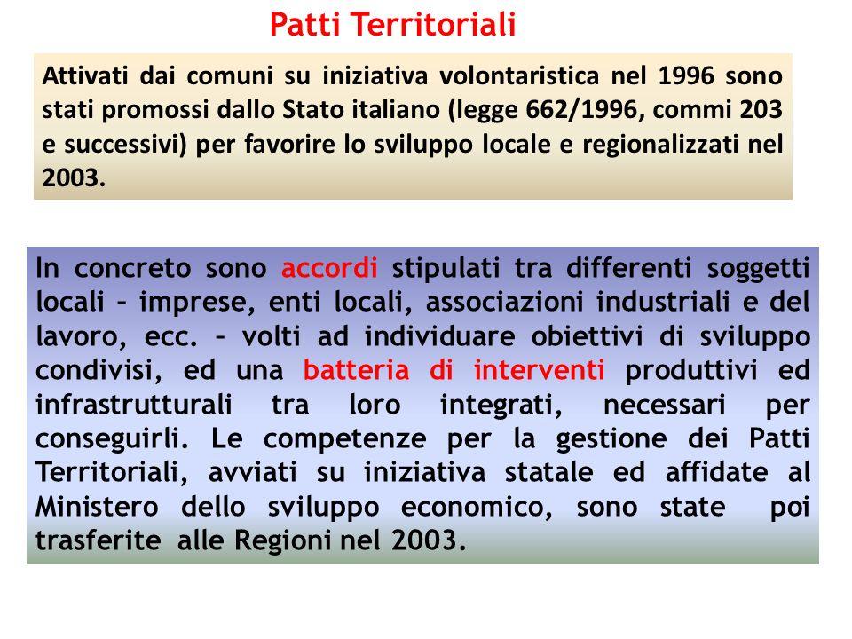 Patti Territoriali In concreto sono accordi stipulati tra differenti soggetti locali – imprese, enti locali, associazioni industriali e del lavoro, ec