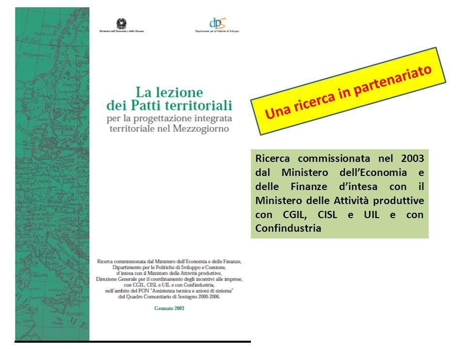 Ricerca commissionata nel 2003 dal Ministero dellEconomia e delle Finanze dintesa con il Ministero delle Attività produttive con CGIL, CISL e UIL e co