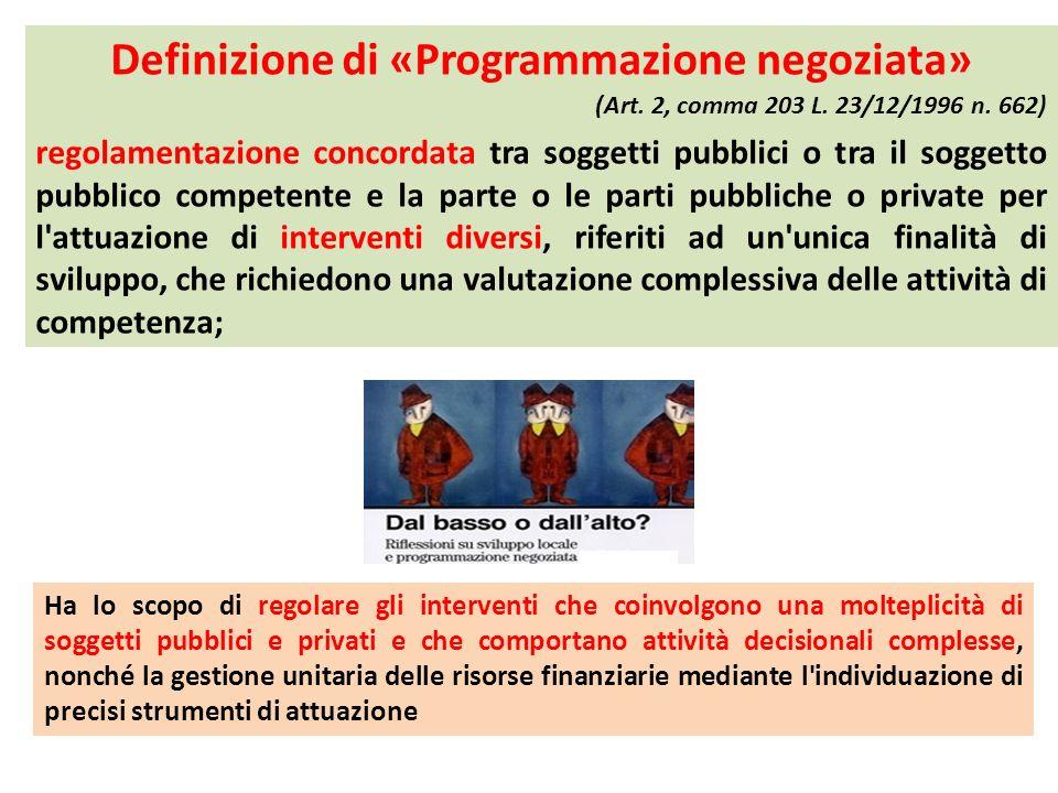 Definizione di «Programmazione negoziata» (Art. 2, comma 203 L. 23/12/1996 n. 662) regolamentazione concordata tra soggetti pubblici o tra il soggetto