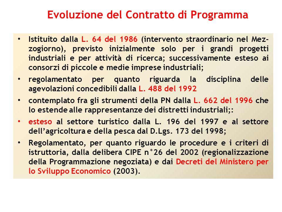 Istituito dalla L. 64 del 1986 (intervento straordinario nel Mez- zogiorno), previsto inizialmente solo per i grandi progetti industriali e per attivi