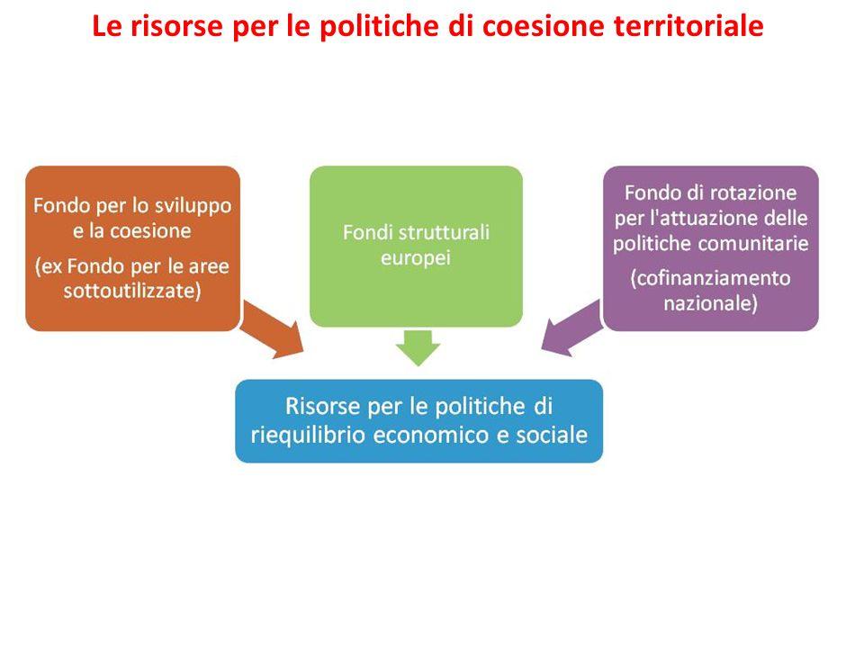 Le risorse per le politiche di coesione territoriale