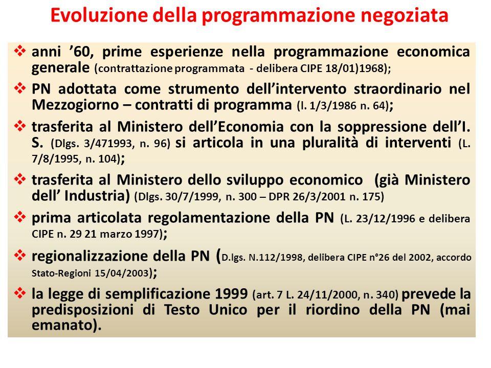 Evoluzione della programmazione negoziata anni 60, prime esperienze nella programmazione economica generale (contrattazione programmata - delibera CIP