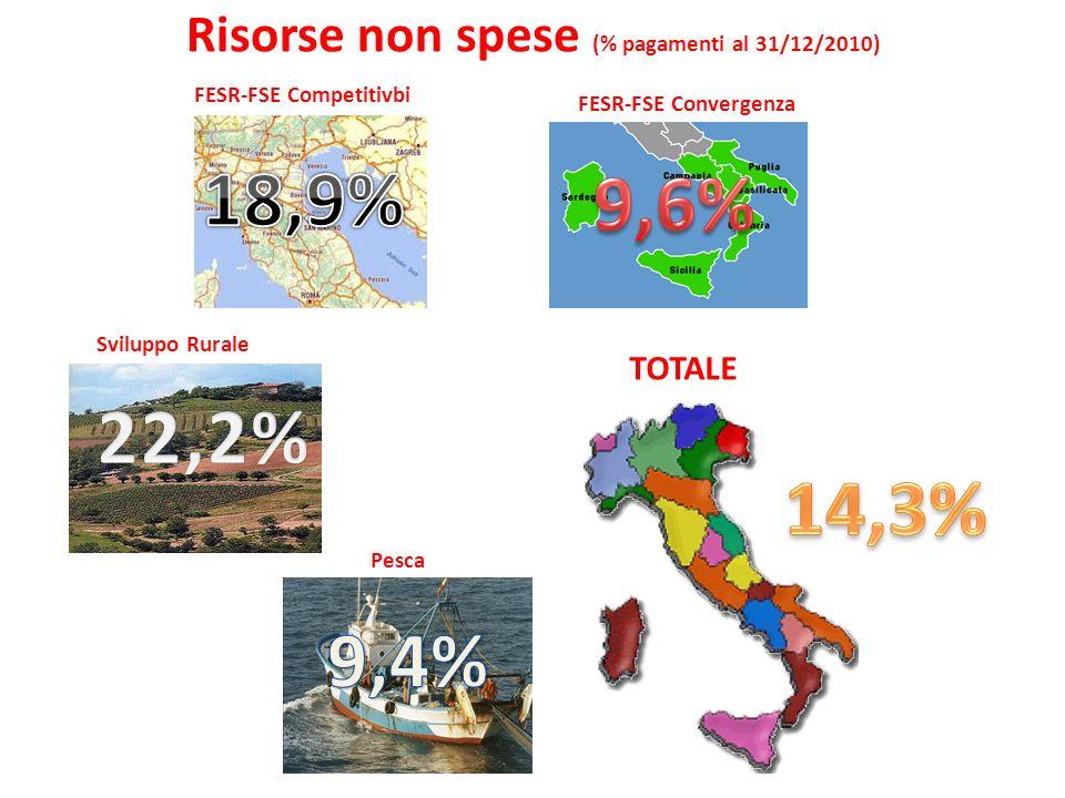 Risorse non spese (% pagamenti al 31/12/2010) FESR-FSE Convergenza FESR-FSE Competitivbi Sviluppo Rurale Pesca TOTALE