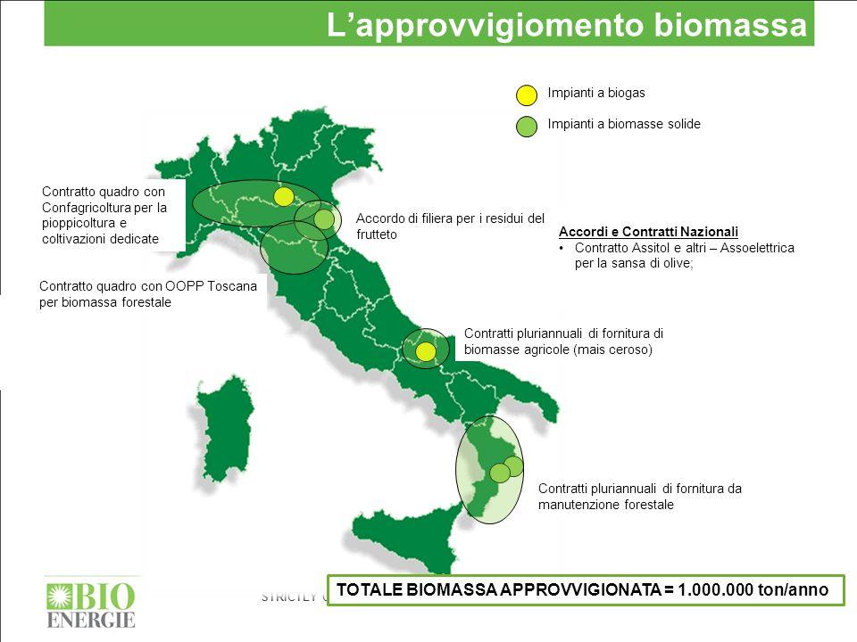 STRICTLY CONFIDENTIAL 6 Lapprovvigiomento biomassa Impianti a biogas Impianti a biomasse solide Contratti pluriannuali di fornitura da manutenzione fo