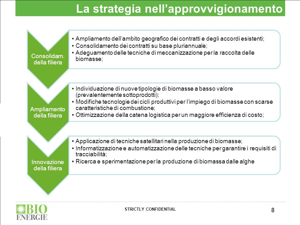 STRICTLY CONFIDENTIAL 8 La strategia nellapprovvigionamento