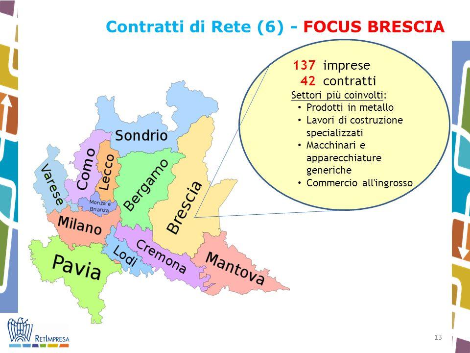 13 Contratti di Rete (6) - FOCUS BRESCIA 137 imprese 42 contratti Settori più coinvolti: Prodotti in metallo Lavori di costruzione specializzati Macchinari e apparecchiature generiche Commercio all ingrosso
