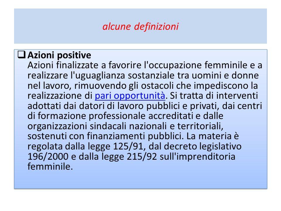 alcune definizioni Azioni positive Azioni finalizzate a favorire l'occupazione femminile e a realizzare l'uguaglianza sostanziale tra uomini e donne n