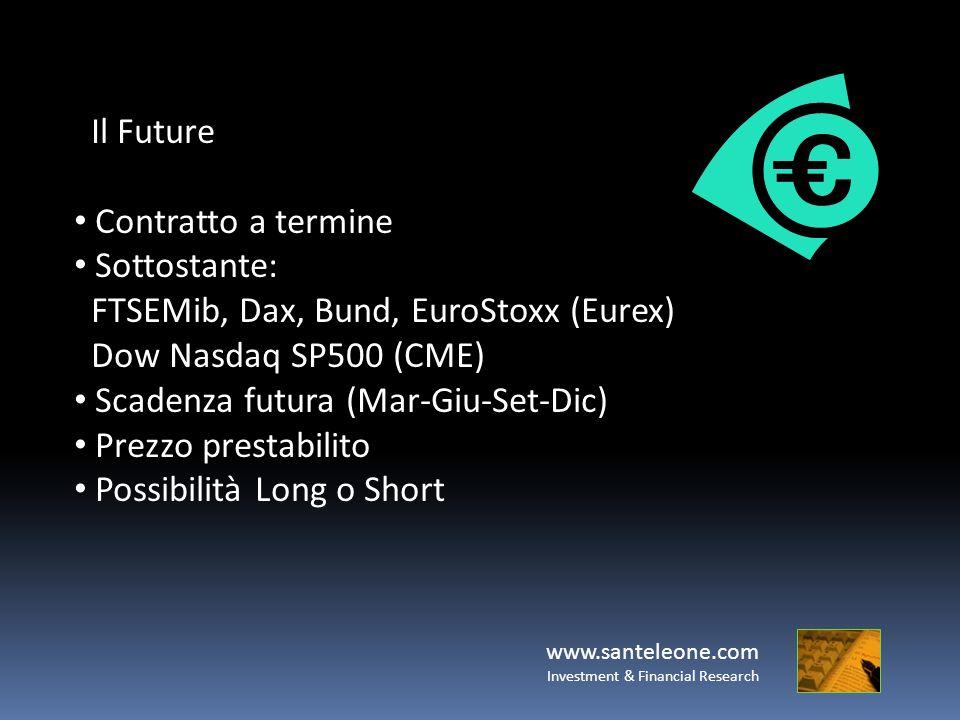 Il Future Contratto a termine Sottostante: FTSEMib, Dax, Bund, EuroStoxx (Eurex) Dow Nasdaq SP500 (CME) Scadenza futura (Mar-Giu-Set-Dic) Prezzo prest