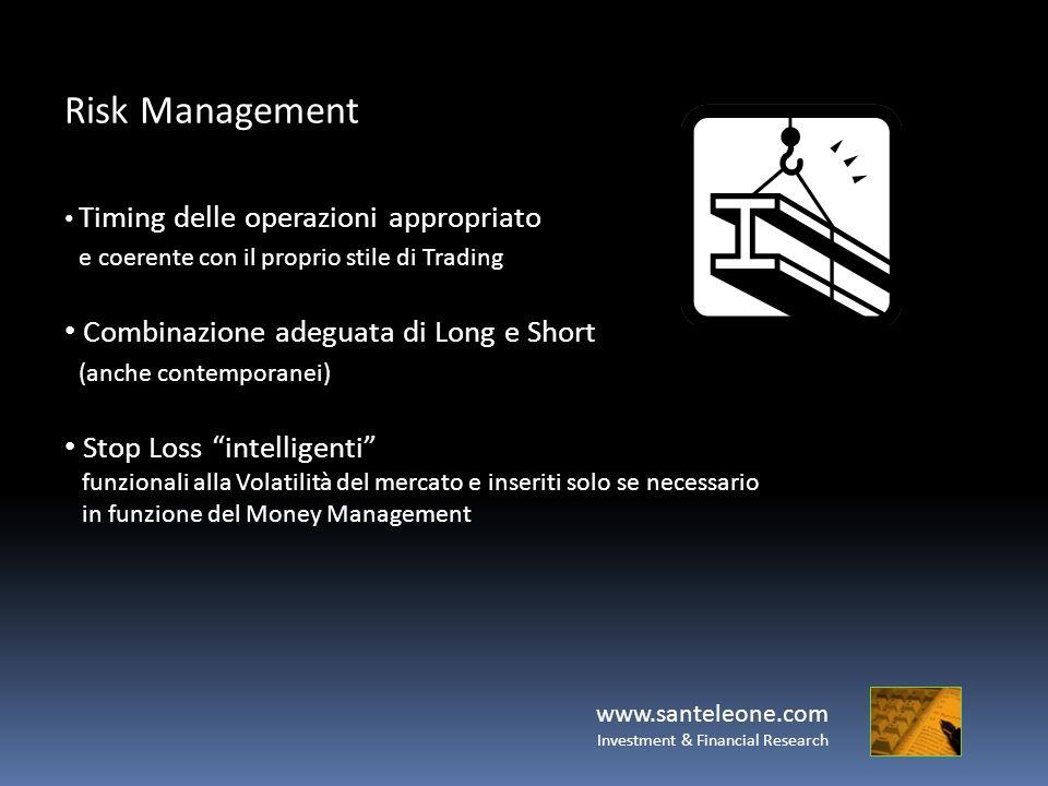 www.santeleone.com Investment & Financial Research Risk Management Timing delle operazioni appropriato e coerente con il proprio stile di Trading Comb