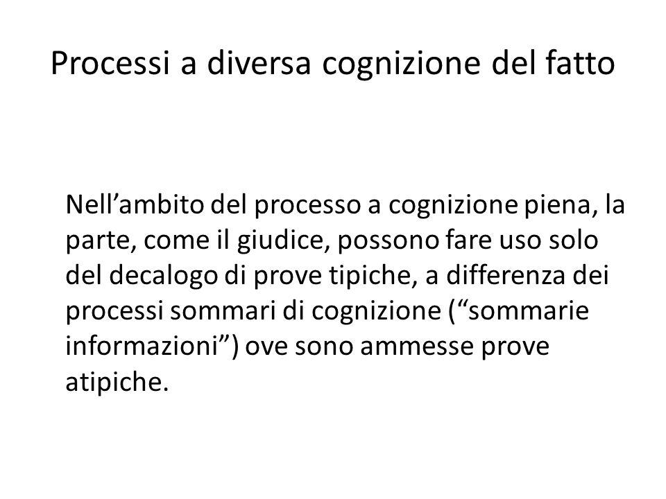 Processi a diversa cognizione del fatto Nellambito del processo a cognizione piena, la parte, come il giudice, possono fare uso solo del decalogo di p