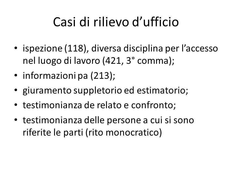 Casi di rilievo dufficio ispezione (118), diversa disciplina per laccesso nel luogo di lavoro (421, 3° comma); informazioni pa (213); giuramento suppl