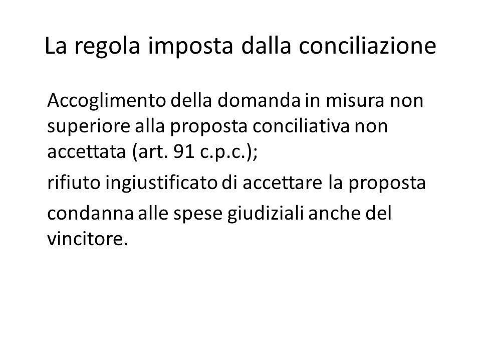 La regola imposta dalla conciliazione Accoglimento della domanda in misura non superiore alla proposta conciliativa non accettata (art. 91 c.p.c.); ri
