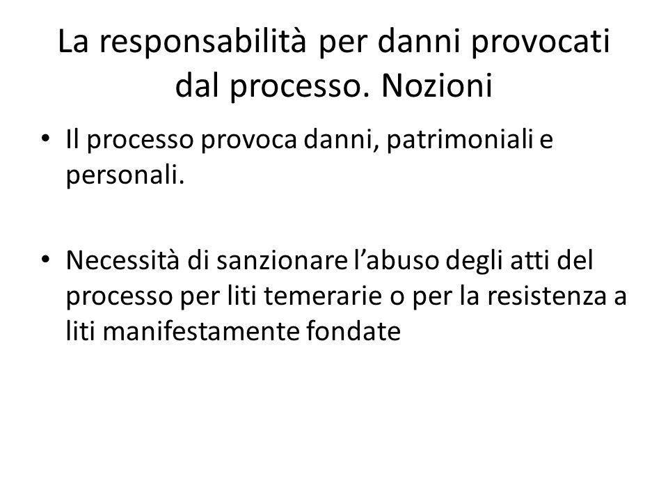 La responsabilità per danni provocati dal processo. Nozioni Il processo provoca danni, patrimoniali e personali. Necessità di sanzionare labuso degli