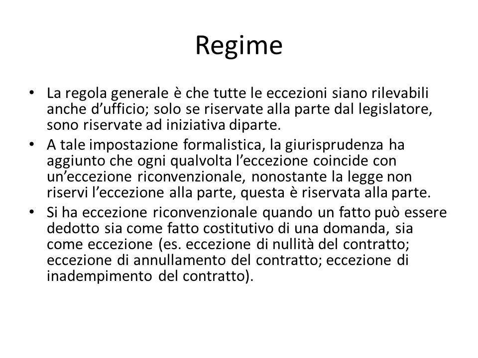 Regime La regola generale è che tutte le eccezioni siano rilevabili anche dufficio; solo se riservate alla parte dal legislatore, sono riservate ad in