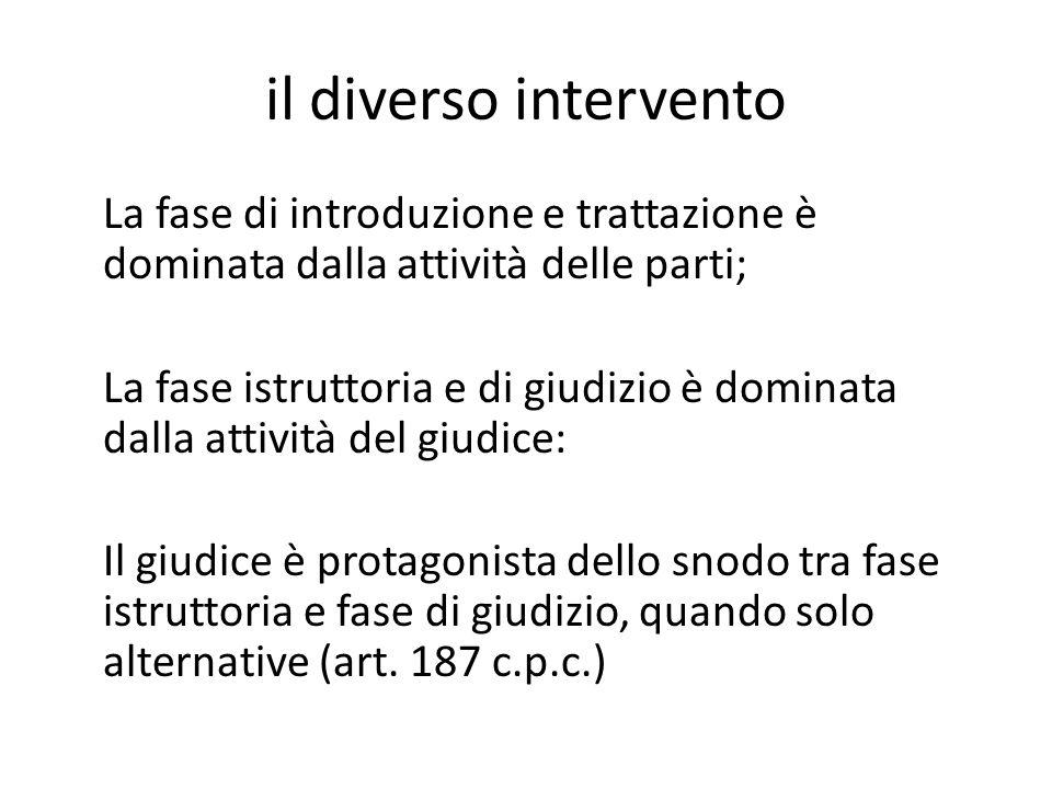 il diverso intervento La fase di introduzione e trattazione è dominata dalla attività delle parti; La fase istruttoria e di giudizio è dominata dalla
