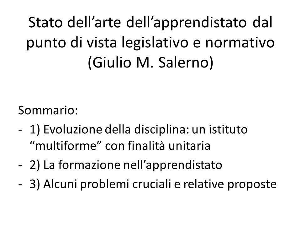 Stato dellarte dellapprendistato dal punto di vista legislativo e normativo (Giulio M.