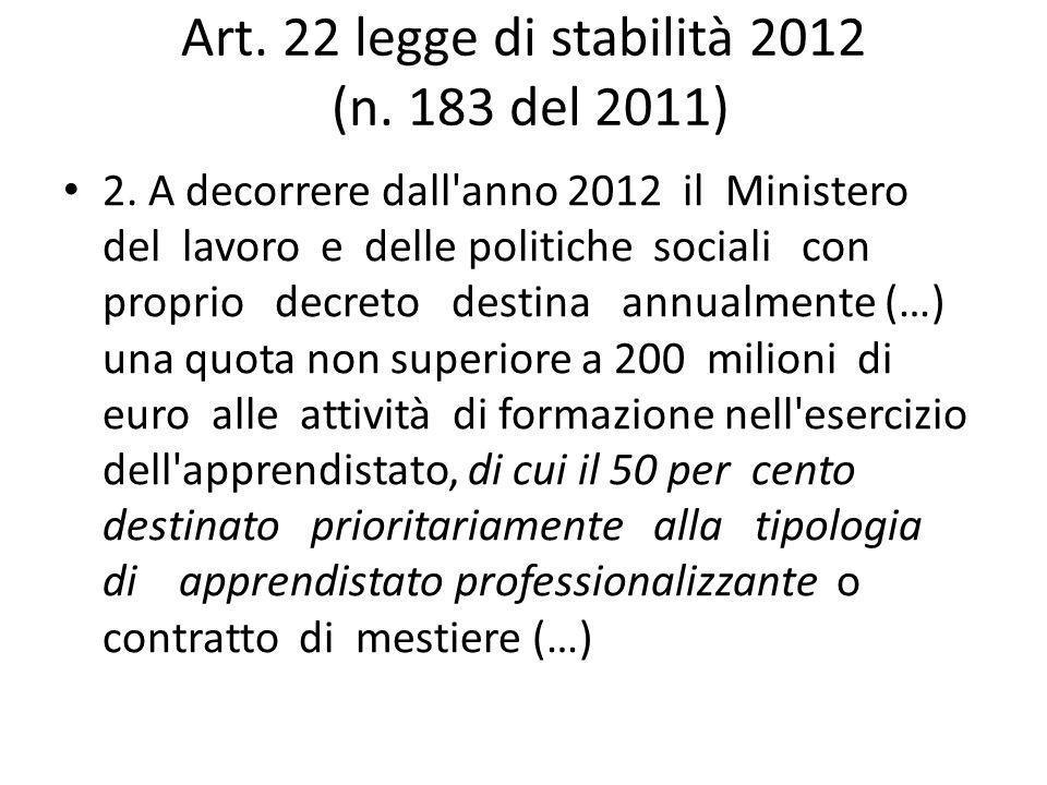 Art. 22 legge di stabilità 2012 (n. 183 del 2011) 2.