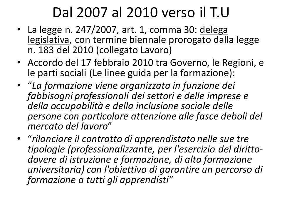 Dal 2007 al 2010 verso il T.U La legge n. 247/2007, art.