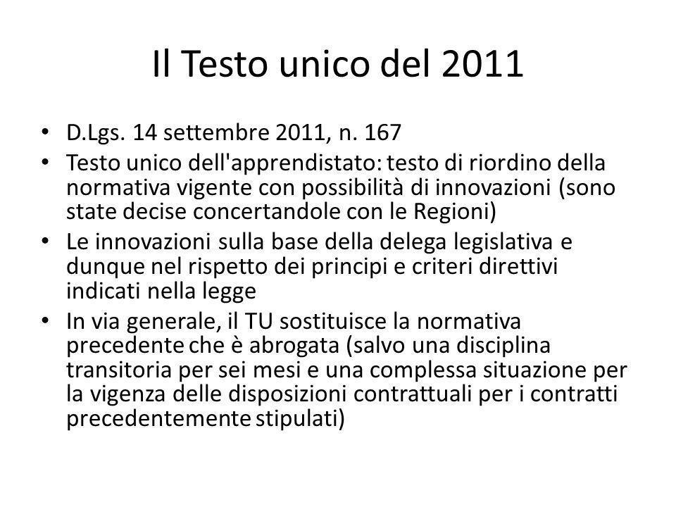 Il Testo unico del 2011 D.Lgs. 14 settembre 2011, n.