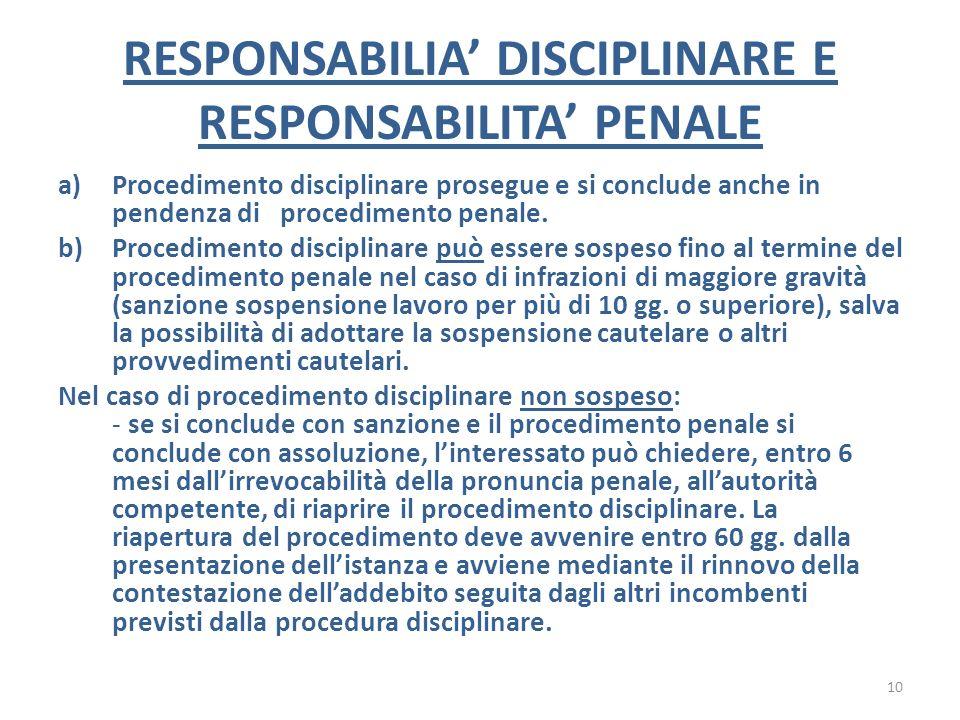 RESPONSABILIA DISCIPLINARE E RESPONSABILITA PENALE a)Procedimento disciplinare prosegue e si conclude anche in pendenza di procedimento penale. b)Proc