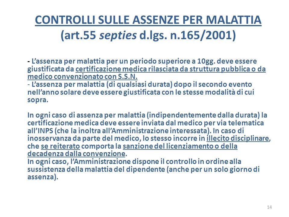CONTROLLI SULLE ASSENZE PER MALATTIA (art.55 septies d.lgs. n.165/2001) - Lassenza per malattia per un periodo superiore a 10gg. deve essere giustific