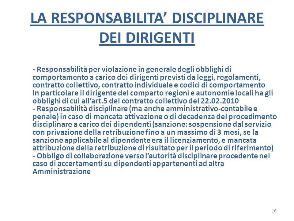 LA RESPONSABILITA DISCIPLINARE DEI DIRIGENTI - Responsabilità per violazione in generale degli obblighi di comportamento a carico dei dirigenti previs