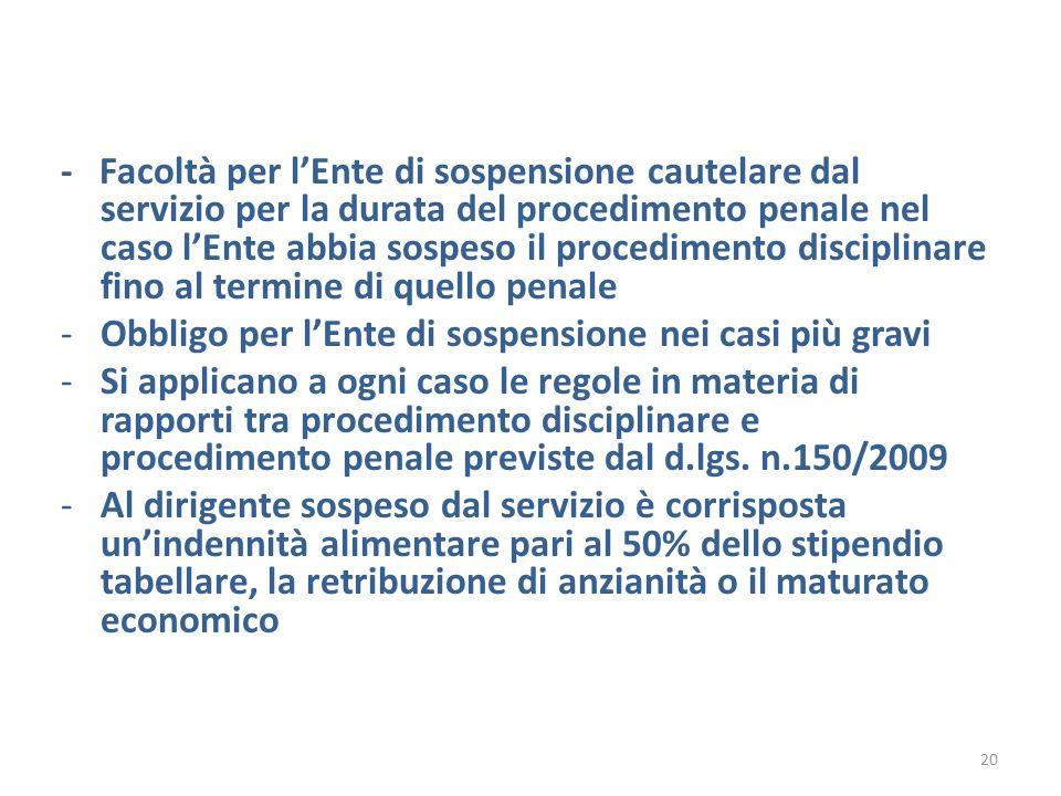 - Facoltà per lEnte di sospensione cautelare dal servizio per la durata del procedimento penale nel caso lEnte abbia sospeso il procedimento disciplin