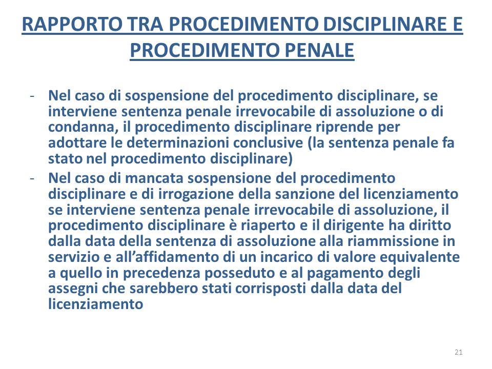 RAPPORTO TRA PROCEDIMENTO DISCIPLINARE E PROCEDIMENTO PENALE -Nel caso di sospensione del procedimento disciplinare, se interviene sentenza penale irr