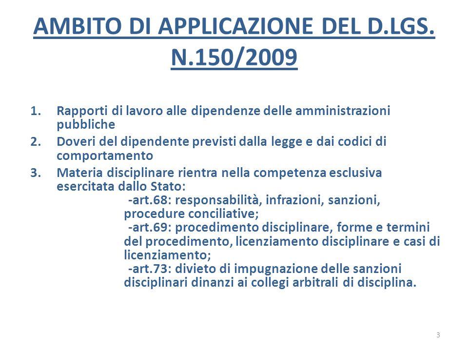 AMBITO DI APPLICAZIONE DEL D.LGS. N.150/2009 1.Rapporti di lavoro alle dipendenze delle amministrazioni pubbliche 2.Doveri del dipendente previsti dal