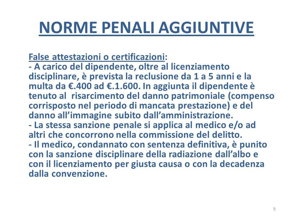 NORME PENALI AGGIUNTIVE False attestazioni o certificazioni: - A carico del dipendente, oltre al licenziamento disciplinare, è prevista la reclusione