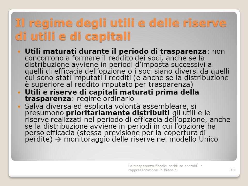 Il regime degli utili e delle riserve di utili e di capitali Utili maturati durante il periodo di trasparenza: non concorrono a formare il reddito dei