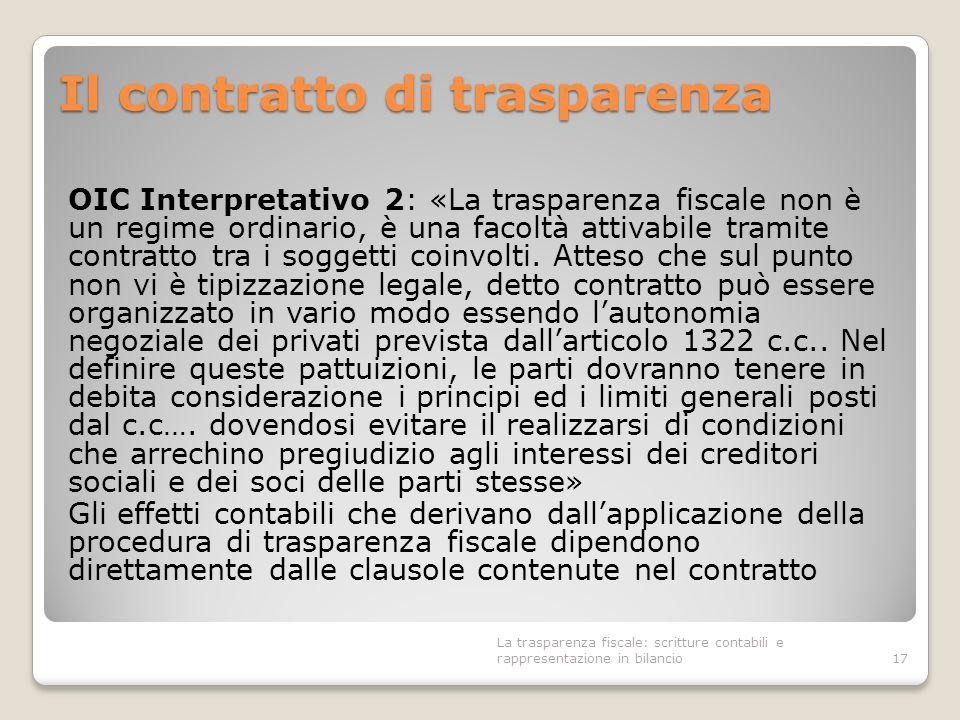 Il contratto di trasparenza OIC Interpretativo 2: «La trasparenza fiscale non è un regime ordinario, è una facoltà attivabile tramite contratto tra i