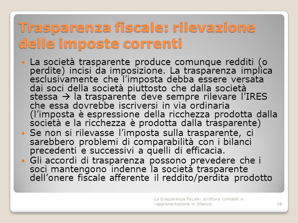 Trasparenza fiscale: rilevazione delle imposte correnti La società trasparente produce comunque redditi (o perdite) incisi da imposizione. La traspare