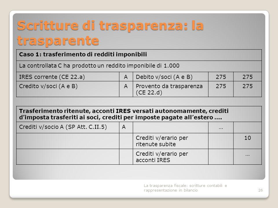 Scritture di trasparenza: la trasparente 26 Caso 1: trasferimento di redditi imponibili La controllata C ha prodotto un reddito imponibile di 1.000 IR