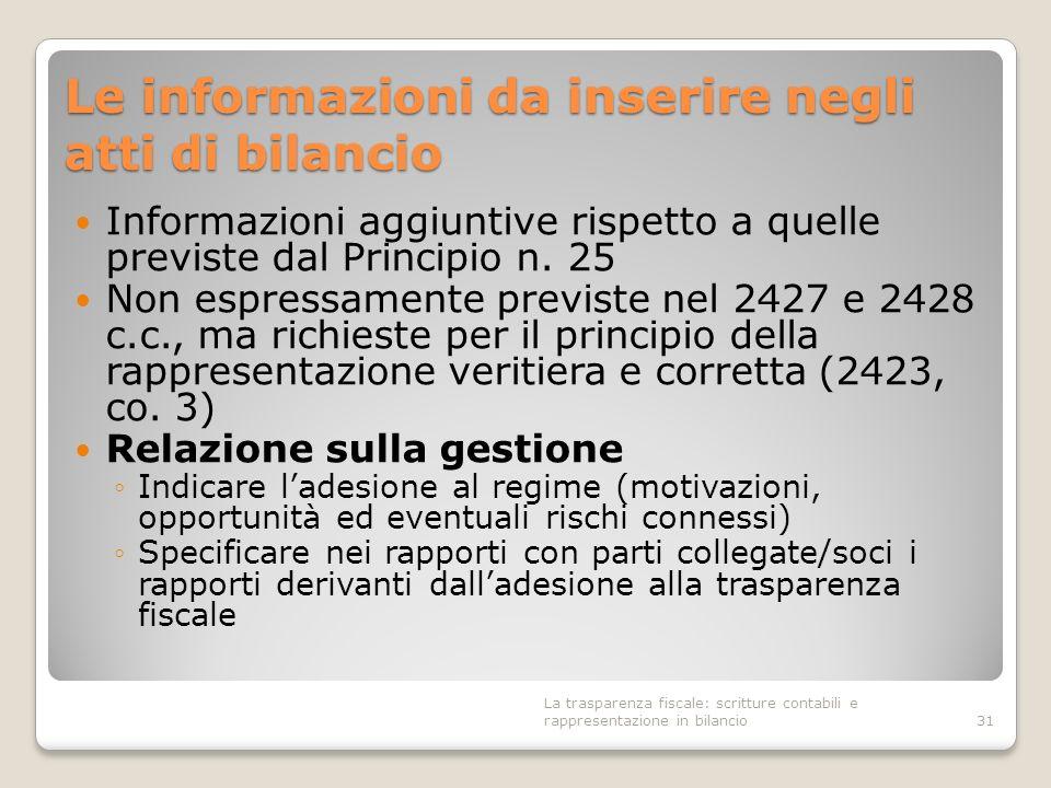 Le informazioni da inserire negli atti di bilancio Informazioni aggiuntive rispetto a quelle previste dal Principio n. 25 Non espressamente previste n