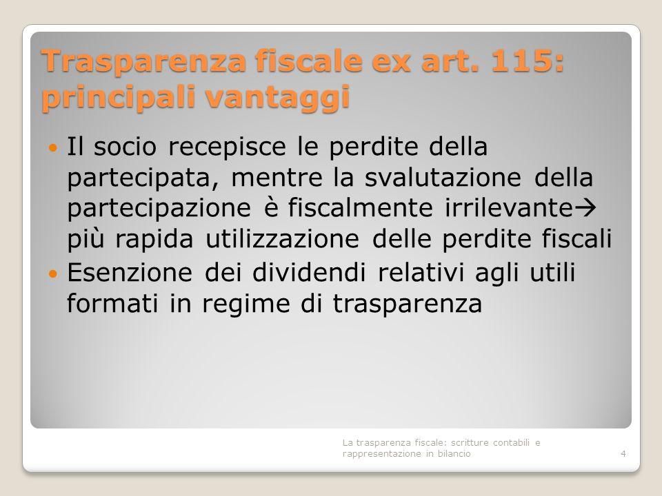 Trasparenza fiscale ex art. 115: principali vantaggi Il socio recepisce le perdite della partecipata, mentre la svalutazione della partecipazione è fi
