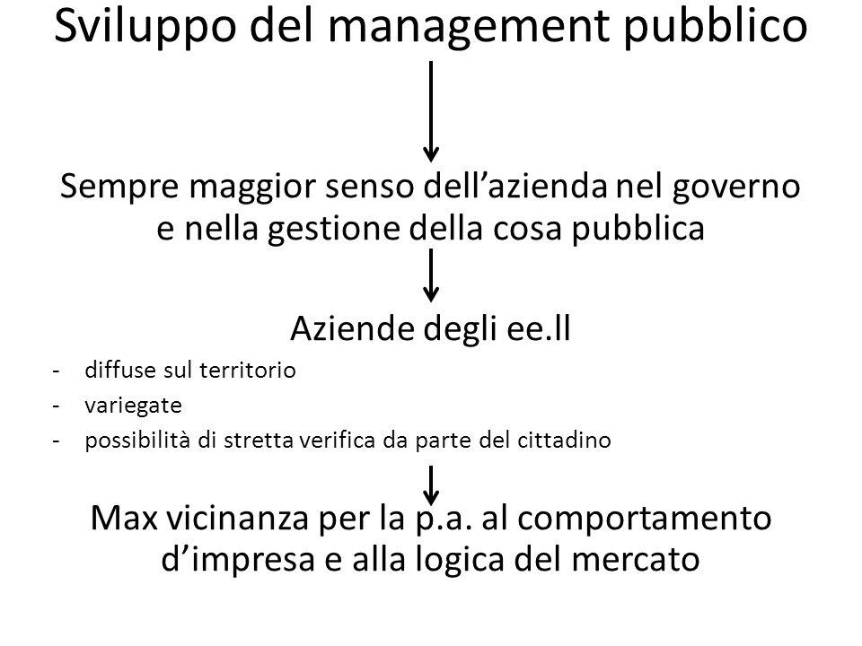 Sviluppo del management pubblico Sempre maggior senso dellazienda nel governo e nella gestione della cosa pubblica Aziende degli ee.ll -diffuse sul territorio -variegate -possibilità di stretta verifica da parte del cittadino Max vicinanza per la p.a.