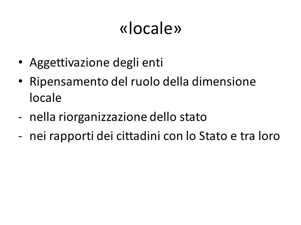 «locale» Aggettivazione degli enti Ripensamento del ruolo della dimensione locale -nella riorganizzazione dello stato -nei rapporti dei cittadini con lo Stato e tra loro