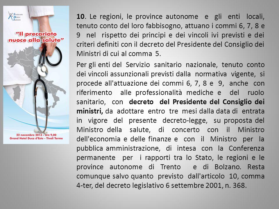 10. Le regioni, le province autonome e gli enti locali, tenuto conto del loro fabbisogno, attuano i commi 6, 7, 8 e 9 nel rispetto dei principi e dei