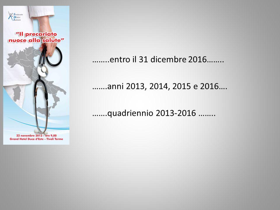 ……..entro il 31 dicembre 2016…….. …….anni 2013, 2014, 2015 e 2016…. …….quadriennio 2013-2016 ……..