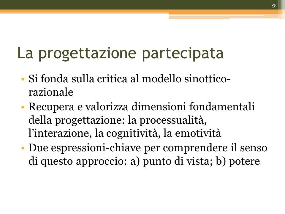 La progettazione partecipata Si fonda sulla critica al modello sinottico- razionale Recupera e valorizza dimensioni fondamentali della progettazione: